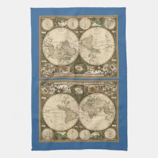 Antique 1660 World Map by Frederick de Wit Tea Towel
