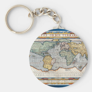 Antique 16th Century World Map Basic Round Button Key Ring