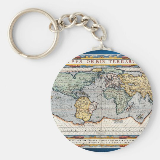 Antique 16th Century World Map Key Ring