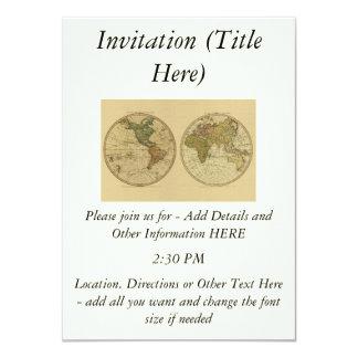 Antique 1786 World Map by William Faden 11 Cm X 16 Cm Invitation Card