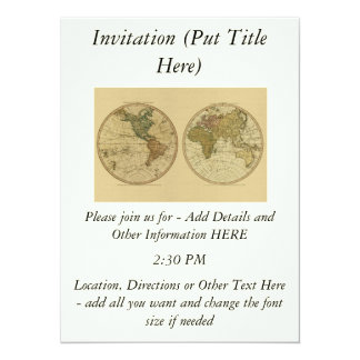 Antique 1786 World Map by William Faden 14 Cm X 19 Cm Invitation Card