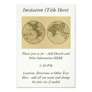 Antique 1786 World Map by William Faden 9 Cm X 13 Cm Invitation Card