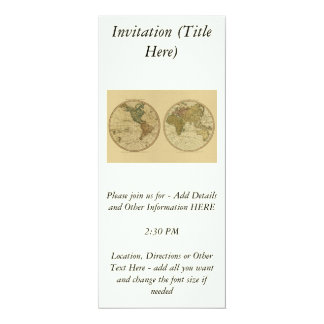 Antique 1786 World Map by William Faden 10 Cm X 24 Cm Invitation Card