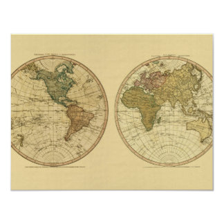 Antique 1786 World Map by William Faden 11 Cm X 14 Cm Invitation Card