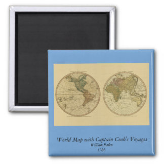 Antique 1786 World Map by William Faden Square Magnet