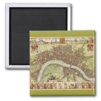 Antique 17th Century Map of London W. Hollar Magnets