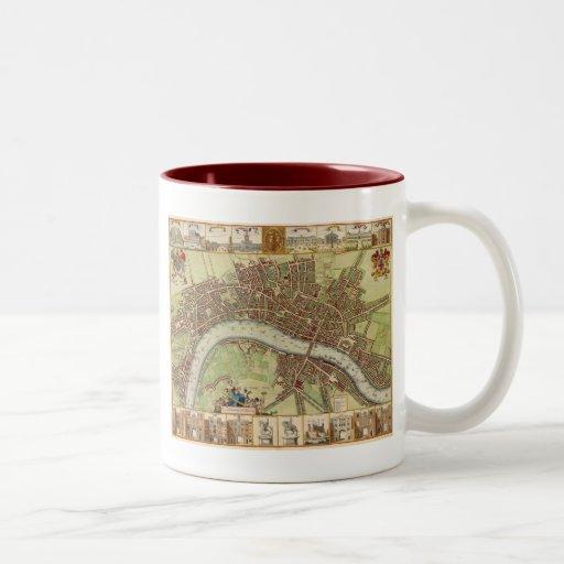 Antique 17th Century Map of London W. Hollar Coffee Mugs