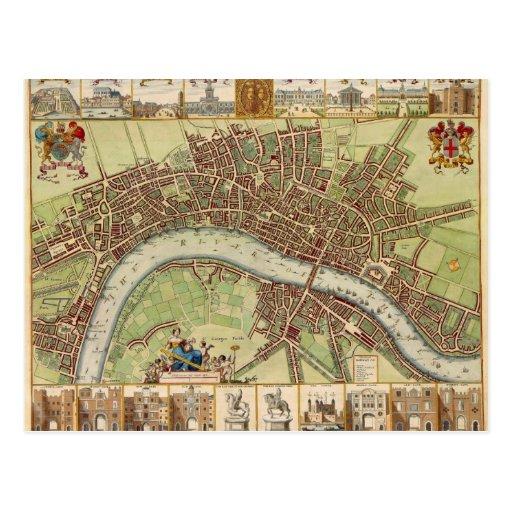 Antique 17th Century Map of London W. Hollar Postcard