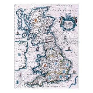 Antique 17th Century Map Postcard