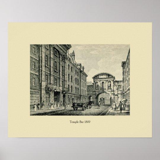 Antique 1800 London Temple Bar Poster