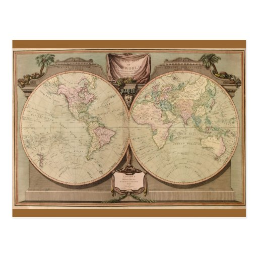 Antique 1808 World Map by Laurie and Whittle Post Cards