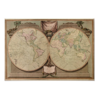 Antique 1808 World Map by Laurie and Whittle Print
