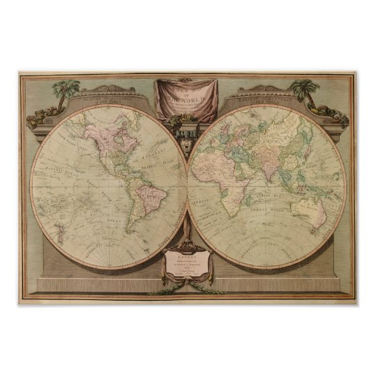 Antique 1808 World Map by Laurie and Whittle