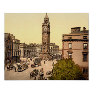 Antique 1890s Belfast Street scene Albert Memorial Poster
