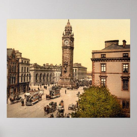 Antique 1890s Belfast Street scene Albert Memorial Poster