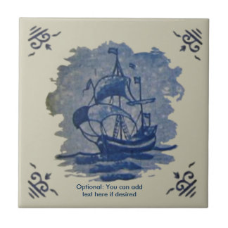 Antique 18th Century Delft Ship Tile Reproduction