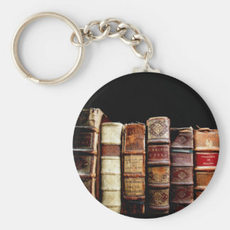 Antique 18th Century Design Leather Binding books Basic Round Button Key Ring