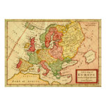 Antique 18th Century Map of Europe Herman Moll Print
