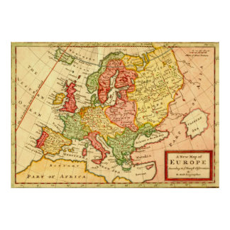 Antique 18th Century Map of Europe Herman Moll Poster