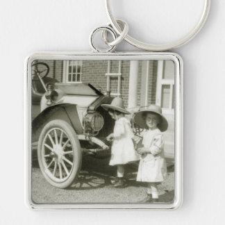 Antique 1911 Roadster Silver-Colored Square Key Ring
