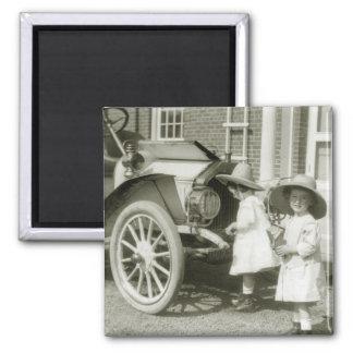 Antique 1911 Roadster Square Magnet
