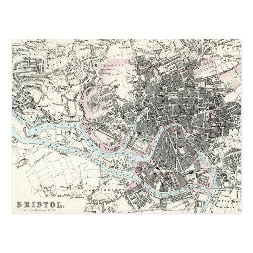 Antique 19th Century Map of Bristol England Postcards