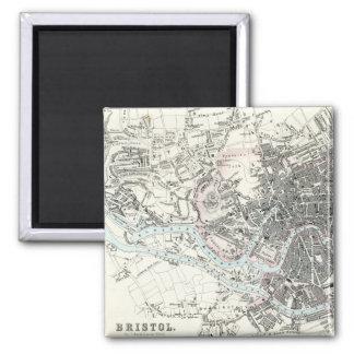 Antique 19th Century Map of Bristol England Square Magnet
