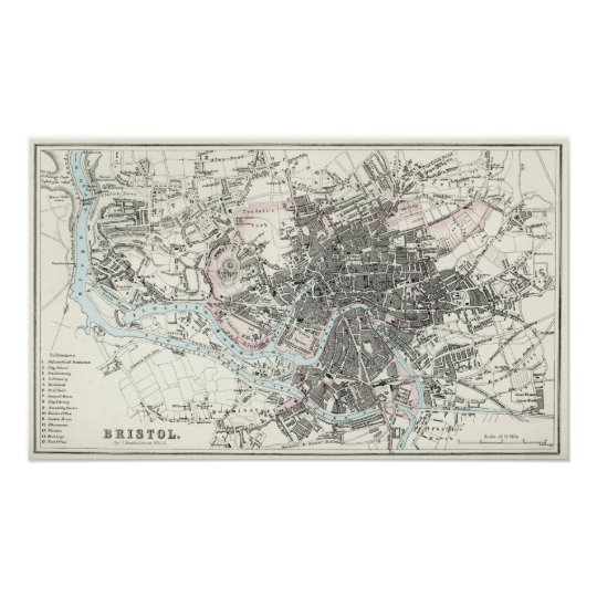 Antique 19th Century Map of Bristol Poster