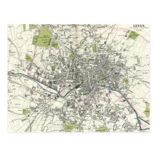 Antique 19th Century Map of Leeds Postcard