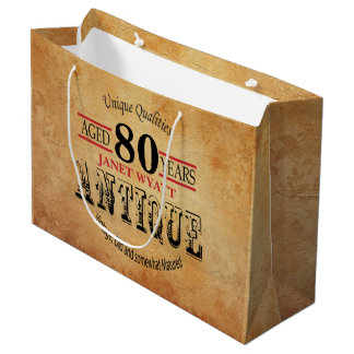 Antique 80th Birthday Large Gift Bag