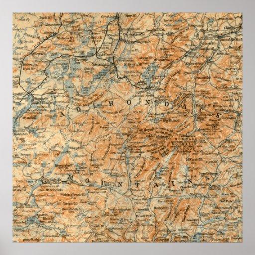 Antique Adirondacks Map Poster