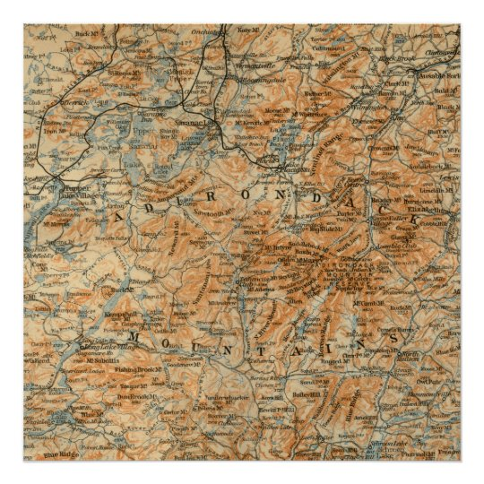 Antique Adirondacks Map Poster