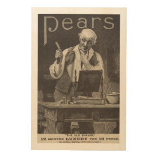 Antique advert from 1895 for Pears shaving stick Wood Print