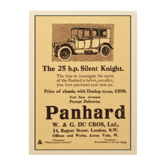 Antique advert from 1913 for Panhard car Wood Wall Art