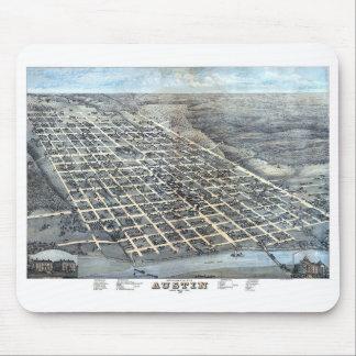 Antique Aerial City Map of Austin, Texas, 1873 Mouse Mat