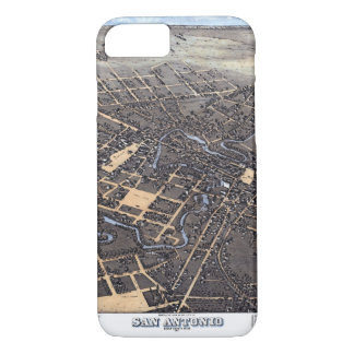 Antique Aerial City Map of San Antonio, Texas 1873 iPhone 8/7 Case