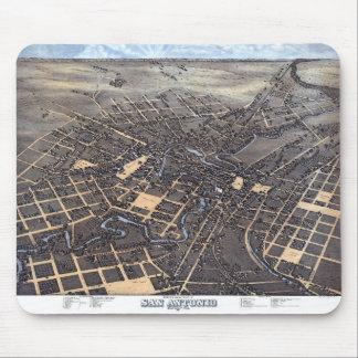 Antique Aerial City Map of San Antonio, Texas 1873 Mouse Mat