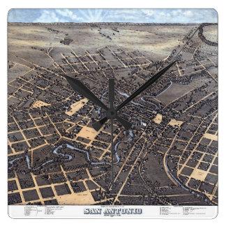 Antique Aerial City Map of San Antonio, Texas 1873 Square Wall Clock