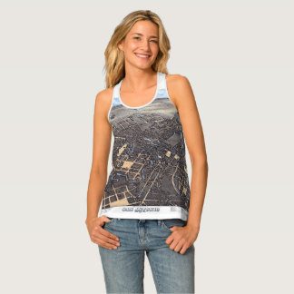 Antique Aerial City Map of San Antonio, Texas 1873 Tank Top