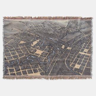 Antique Aerial City Map of San Antonio, Texas 1873 Throw Blanket