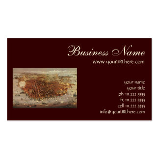 Antique Aerial Map City San Francisco, California Business Card Template
