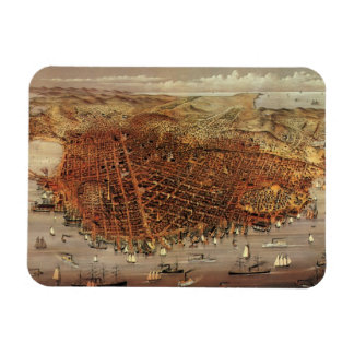 Antique Aerial Map City San Francisco, California Vinyl Magnets