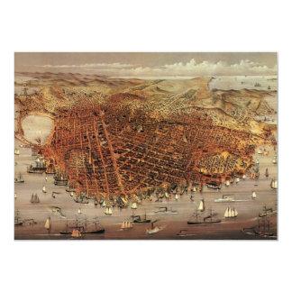 "Antique Aerial Map City San Francisco, California 5"" X 7"" Invitation Card"