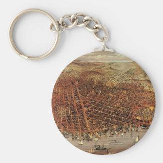 Antique Aerial Map City San Francisco, California Basic Round Button Key Ring