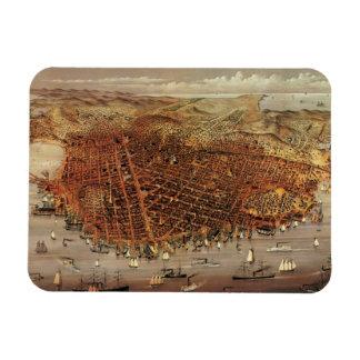 Antique Aerial Map City San Francisco California Vinyl Magnets