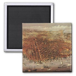 Antique Aerial Map City San Francisco, California Square Magnet