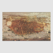 Antique Aerial Map City San Francisco, California Rectangle Stickers