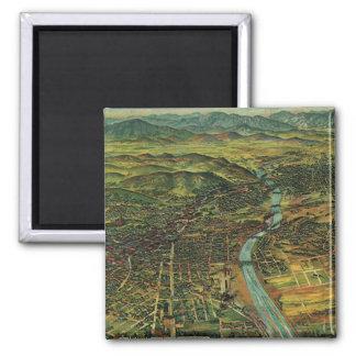 Antique Aerial Map of Los Angeles, California Square Magnet