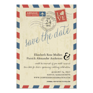 Antique Airmail Save the Date 13 Cm X 18 Cm Invitation Card