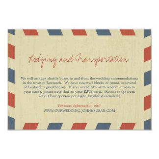 Antique Airmail Wedding Information 9 Cm X 13 Cm Invitation Card